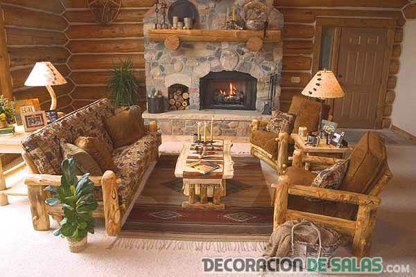salón pequeño combinación estilo rústico