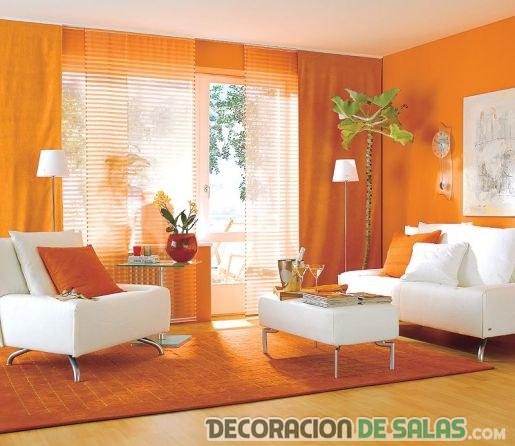 Salones en color naranja para tu hogar - Pared naranja combina con ...