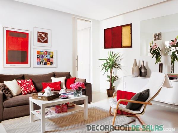 salón piso de soltera en color rojo