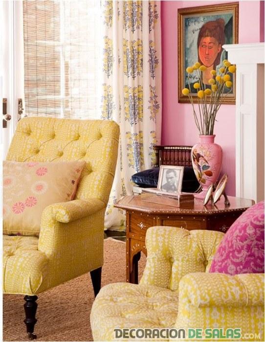 salón retro en rosa y amarillo