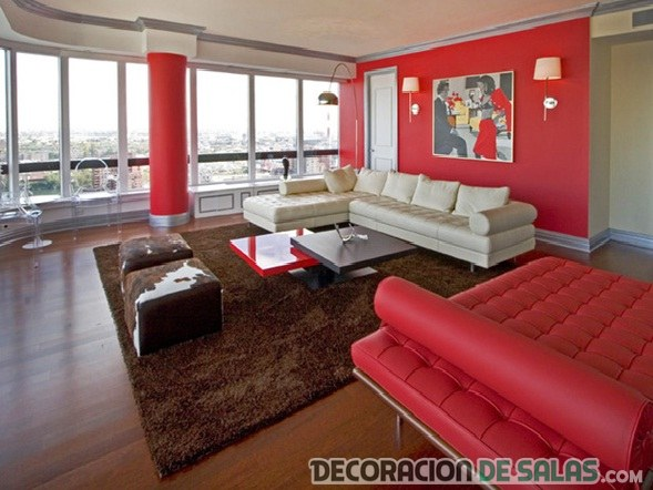 Muebles marron con rojo 20170824081155 Decoracion salon marron