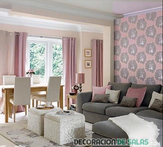 salón rosa y gris