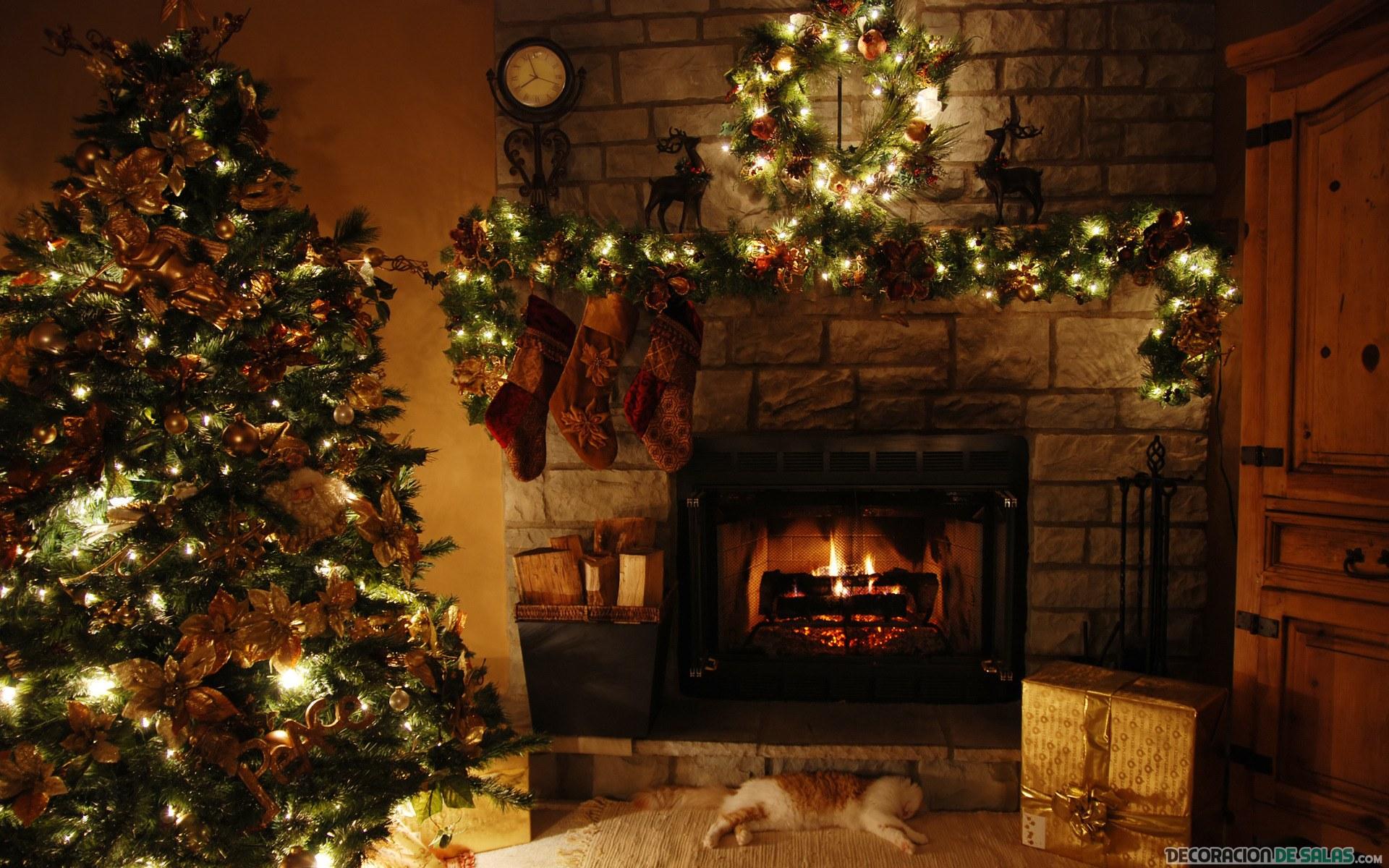 salón rústico con decoración de navidad