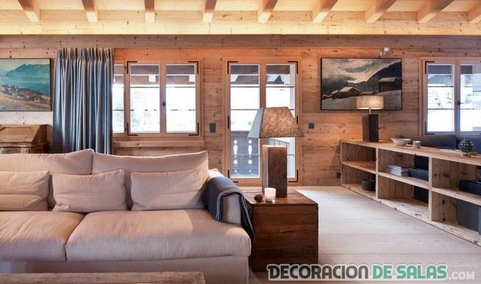salón rústico elegante en madera
