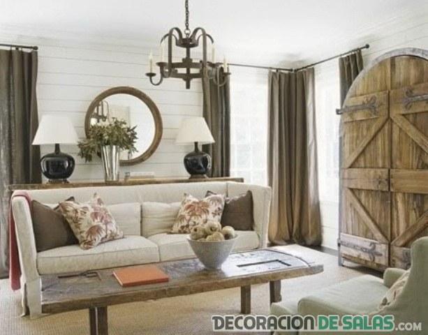 salón rústico en blanco con detalles de madera