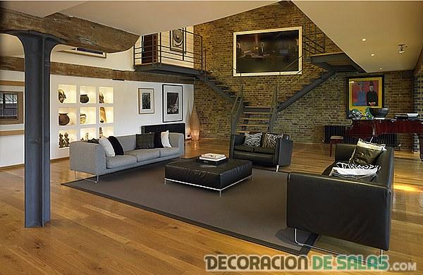 salón rustico madera oscuro