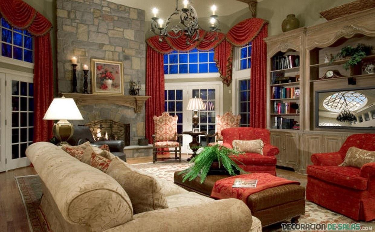 salón rústico vintage con color rojo