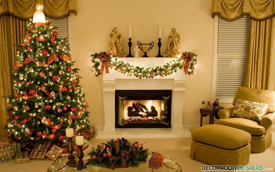 Ideas de salones decorados para navidad for Decoracion de chimeneas