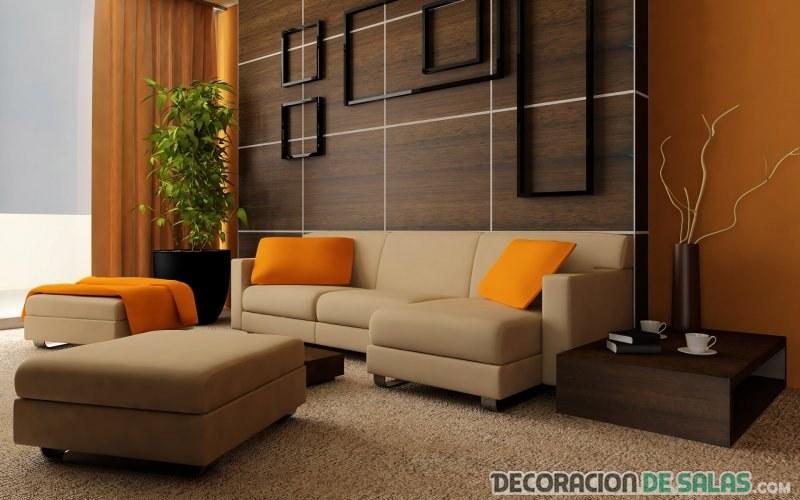salones combinados en color naranja