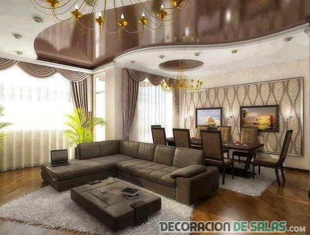 Salas modernas con techos decorativos for Techos salones modernos