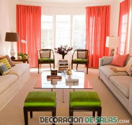 salones cortinas en color rojo