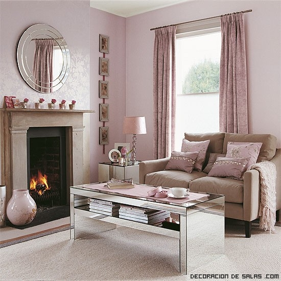La decoraci n en rosa palo est de tendencia for Next living room wallpaper