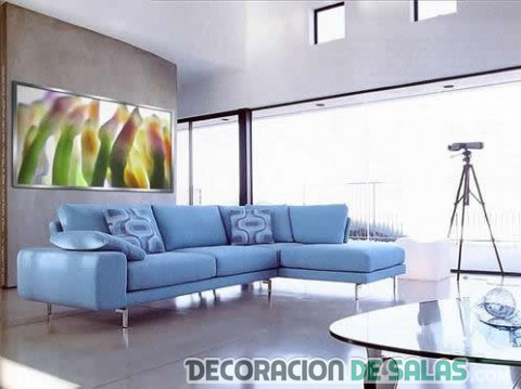 salones luminosos sofa azul
