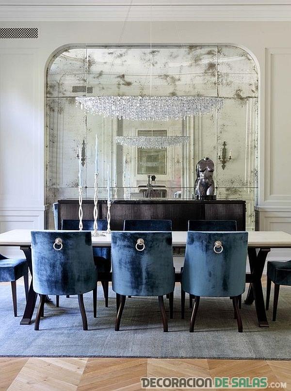 sillas de comedor en azul oscuro