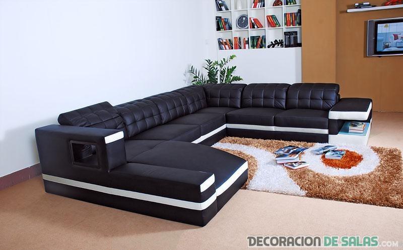 sofá negro rinconero moderno
