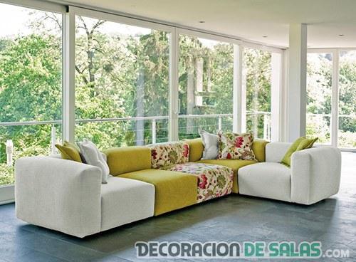 sofás combinados texturas en decoracion