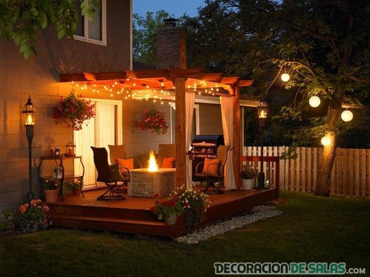 terraza elegante iluminada