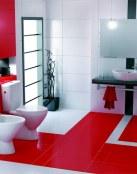 Baños con pinceladas en color rojo