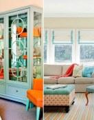 Decoración con color turquesa y naranja