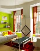 Combinación del verde y el gris en la decoración