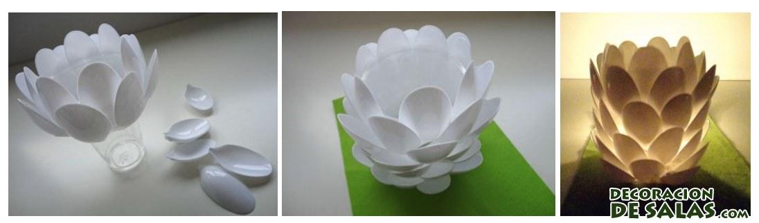 Dos ideas con cucharillas de pl stico for Decoracion de espejo con cucharas